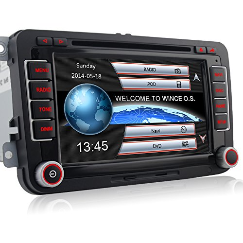 A-Sure 7″ Zoll 2 Din Bluetooth FM Full 3D Map 3G DAB+ Autoradio OBD TMC Navi DVD GPS Radio RDS Für VW Passat Golf 5 6 Touran Tiguan Transporter Multivan T5 Polo Jetta Caddy Skoda Seat Altea