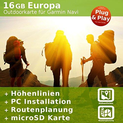 Europa Outdoor Karte kompatibel zu Garmin Navigation – Zum Wandern, Geocachen, Bergsteigen, Radfahren, Radtour