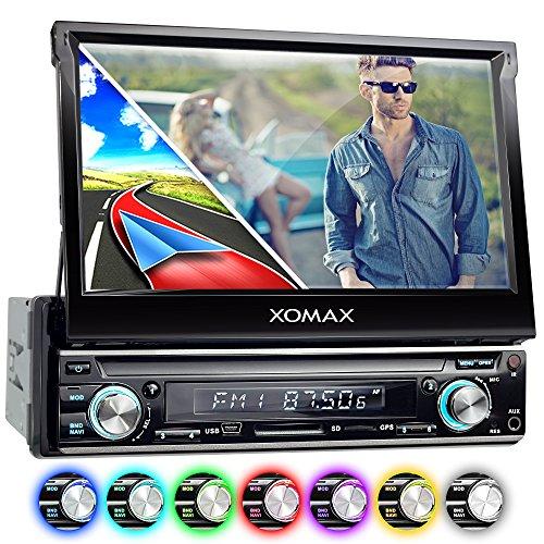 XOMAX XM-VRSUN740BT Autoradio mit GPS Navigation + Bluetooth Freisprechfunktion + WiFi/WLAN + ODB2 + Mirrorlink + 7 Zoll / 18cm Touchscreen Display in 16:9 HD + USB bis 128 GB + SD bis 128 GB + Anschlüsse für Subwoofer, Rückfahrkamera & Lenkradfernbedienung + Single DIN 1DIN / Moniceiver / Naviceiver + inkl. Europa Karten 38 Länder