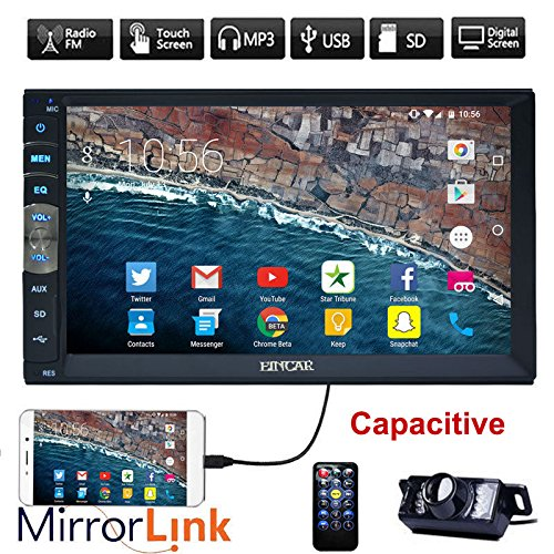 Neue Marke Upgarde Version 7 Zoll kapazitiver Touch Screen Audio Spiegel Link for GPS Android Phone Double 2 Din Bluetooth Auto-Stereo-In-Schlag-Video Auto Radio ohne DVD-Player + R¨¹ckfahrkamera