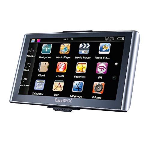 EasySMX 739 GPS Navigator 7 Zoll TFT LCD Touchscreen Vorgeladene Karten Musik / Film Player Mehrsprachig Kompatibel mit Windows XPSchwarz + Silber