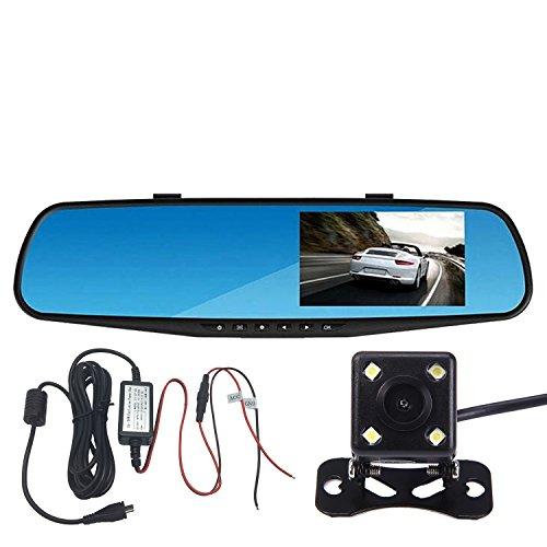 Panlelo®PAC30P,Car Dash Cam Car Video Recorder Auto Rückspiegel DVR Auto Dual Lens Front & Reversing Camera 4.3 Zoll LCD Blue screen HD Video Recording