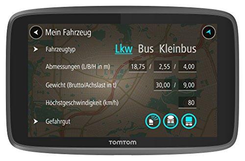 TomTom Go Professional 6200 LKW-Navigationsgerät Update via Wi-Fi, 15,24 cm 6 Zoll, 50.000 POIs, Smartphone Benachrichtigungen, Lebenslang Karten Europa, 1 Jahr Traffic und Radarkameras schwarz