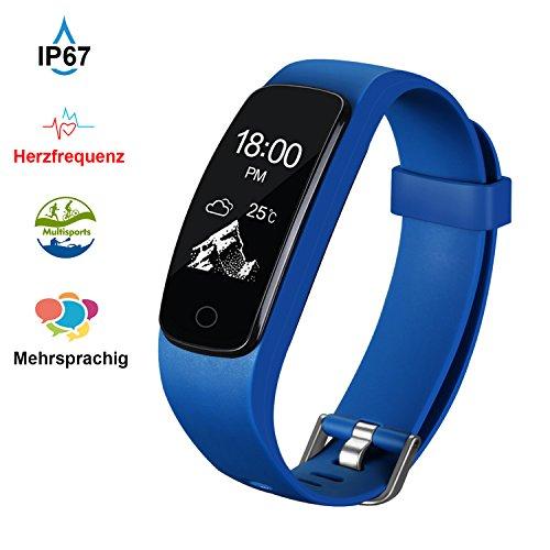 Fitness Tracker Aneken Sport Uhr mit Schrittzähler, Herzfrequenz, Pulsmesser, Kalorienzähler und Schlaf-Monitor Smart Watch kabellose Bluetooth 4.0 Multi-Sport-Modi IP67 Wasserdicht Anrufen/SMS Nachrichten Smart Bracelet für Android/iOS Blau