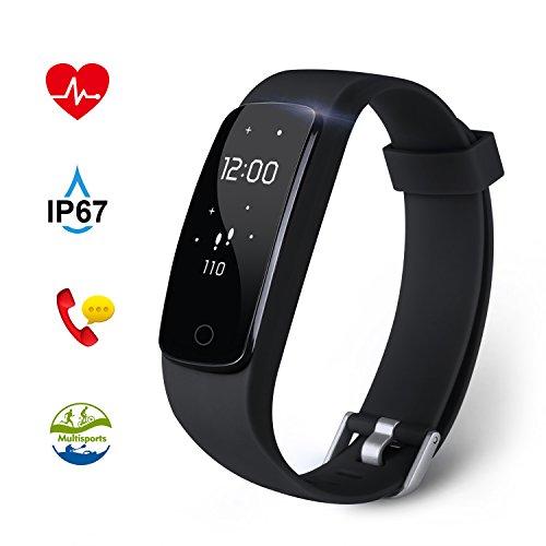 Fitness Tracker Aneken Aktivitätstracker mit 14 Multi-Sport-Modi Schrittzähler Herzfrequenz Pulsmesser Kalorienzähler und Schlaf-Monitor Anrufen/SMS Nachrichten für Android/iOS schwarz