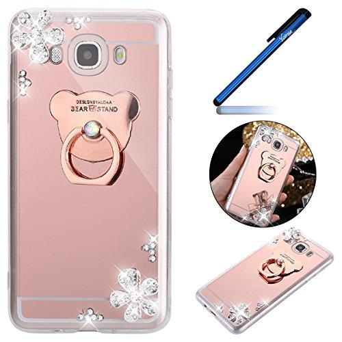 Ysimee kompatibel mit Samsung Galaxy J7 2016 Hülle Ring Holder-Spiegel Mirror-Glitzer TPU Silikon Hülle mit Ring Ständer, Überzug HandyHülle EINWEG Ultradünnen Weiche Etui Bumper, Bär rose Gold
