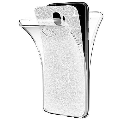 Silber – Ysimee kompatibel mit Samsung Galaxy J2 Pro 2018-360 Full Body Hülle TPU Silikon Hülle Weiche Handyhülle Tasche Stoßdämpfend Beidseitiger Vorne und Hinten 360°Schutz EINWEG Glitzer Hülle