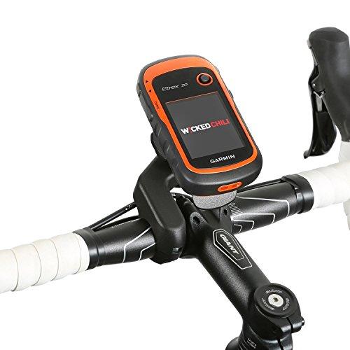 Wicked Chili Fahrrad/Motorrad Design Halterung für Garmin eTrex, Dakota, Oregon, Approach, Astro, GPSMAP Curved Bike Mount mit Sicherungsschutz/QuickFix-System/Made in Germany schwarz