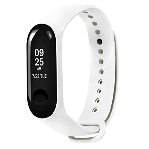 Silikon – Xiaomi Mi Band 3 Fitnessarmband mit Herzfrequenzmessung, Armband: Silikon Weiß, inkl. Wechselarmband: Schwarz