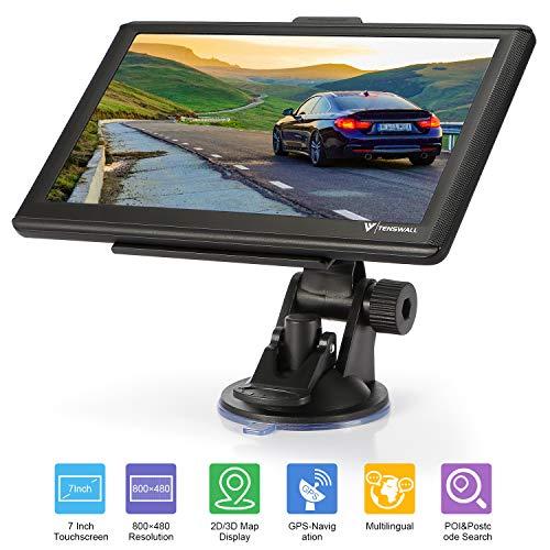 GPS Navigation für Auto, Tenswall Navigationsgerät für LKW PKW KFZ 7 Zoll 8GB 256MB Touchscreen Navi mit POIBlitzerwarnungSprachführungFahrspur, Lebenslang Kostenloses EU-58Karten