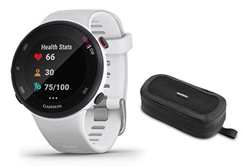 Garmin Forerunner 45/45 S – GPS-Laufuhr im schlanken und leichten Design, Trainingspläne, Fitness Tracker S, Weiß inkl Tasche