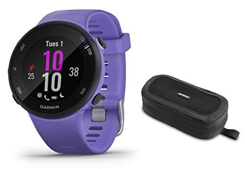 GPS-Laufuhr im schlanken und leichten Design, Trainingspläne, Fitness Tracker S, Lila inkl Tasche – Garmin Forerunner 45/45 S