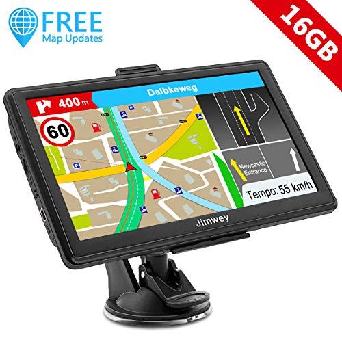 Jimwey GPS Navi Navigation für Auto LKW PKW 7 Zoll 16GB Lebenslang Kostenloses Kartenupdate Navigationsgerät mit POI Blitzerwarnung Sprachführung Fahrspurassistent 2019 Europa UK 48 Karten