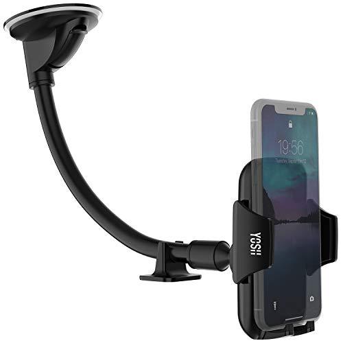 YOSH Handyhalter fürs Auto 297mm lange Halterungarm für Windschutzscheibe KFZ Halterung universal Handy bis zum 6.5 Zoll passende für iPhone XS/XS Max/XR/X/8/7/6 Samsung S9/S8/S7/S6 Huawei P20 lite