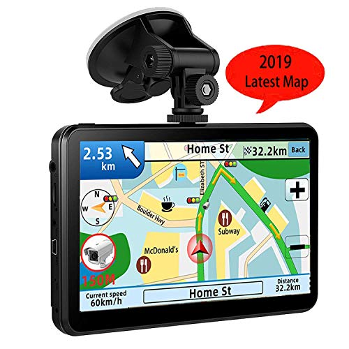 GPS Navi Navigation für Auto LKW PKW KFZ,7 Zoll Navigationsgerät 8GB 256MB Lebenslang Kostenloses Kartenupdate POI Blitzerwarnung Sprachführung Fahrspurassistent 2019 EU UK 52 Karten