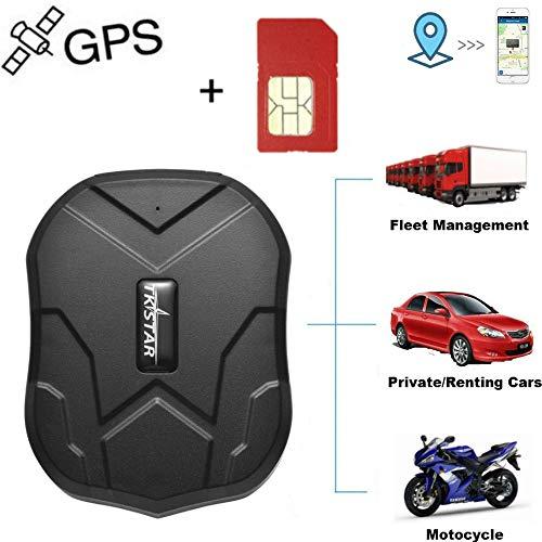 Winnes GPS Tracker mit SIM-Karte, Starker magnetischer GPS Tracker Lange Standby-Zeit Fahrzeugortung wasserdichte Echtzeit-Ortung Anti-Lost Locator mit kostenloser App TK905 …