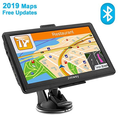 Jimwey GPS Navi Navigation für Auto LKW PKW KFZ Bluetooth Navigationsgerät 7 Zoll 8GB Lebenslang Kostenloses Kartenupdate POI Blitzerwarnung Sprachführung Fahrspurassistent 2019 EU UK Karte