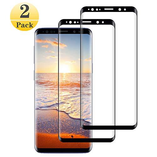Panzerglas Schutzfolie kompatibel mit Samsung Galaxy S9 Plus 2 Stück, 3D Gebogen Vollständige Abdeckung 9H Härte Anti-Fingerabdruck Anti-Öl, Displayschutzfolie für Galaxy S9 Plus