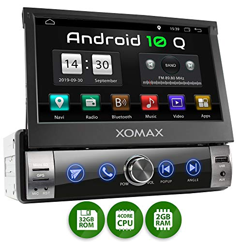 XOMAX XM-VA760 Autoradio mit Android 10, QuadCore, 2GB RAM, 32GB ROM, GPS Navigation I Support: WiFi WLAN, 3G 4G, DAB+, OBD2 I Bluetooth, 7 Zoll / 18 cm Touchscreen, USB, SD, AUX, 1 DIN