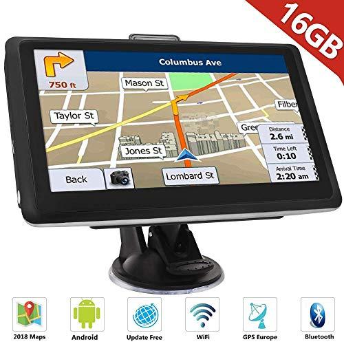 Hieha Auto GPS Navigationsgerät 7″ Zoll Navi Navigation LKW PKW Bluetooth Europe Traffic Android 16GB 512MB Blitzerwarnungen POI Fahrspur- und Parkassistent lebenslang kostenlose Karte-Updates