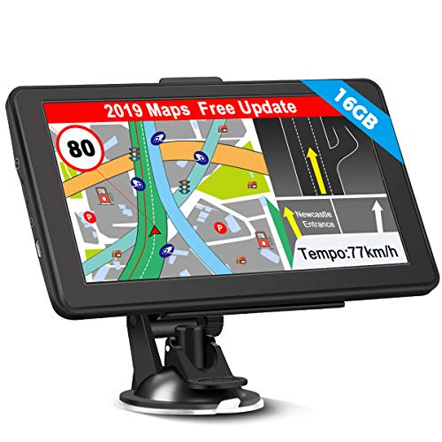 GPS Navi Navigation für Auto, 16G 256M 7 Zoll LKW PKW KFZ Navigationsgerät Lebenslang Kostenloses Kartenupdate Touchscreen POI Blitzerwarnung Sprachführung Fahrspurassistent 2019 EU UK 52 Karten