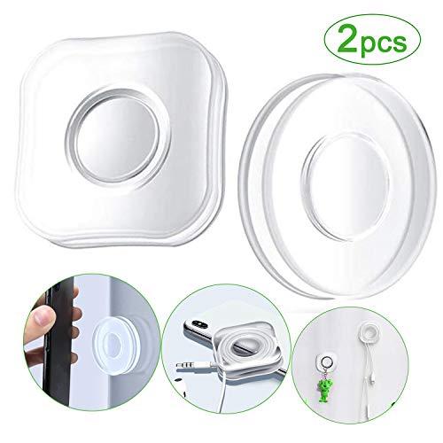Nano Casual Paste Wiederverwendbarer Handyhalter Ultra doppelseitige, Nicht markierende, stark haftende Aufkleber rutschfeste rund + eckig Weiß