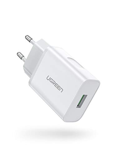 UGREEN USB Ladegerät 18W Quick Charge 3.0 Schnellladegerät kompatibel mit Samsung S10 S9 S8 S7 A50 A40 A30 M30,Sony Xperia 10,Redmi Note 8 Pro,Xiaomi Mi 9, Huawei P30 lite,HTC U11,LG G8s usw Weiß
